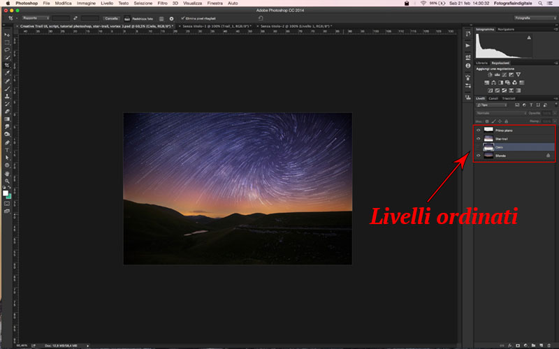 Creative Trail UI, script, tutorial photoshop, star-trail, vortex 4