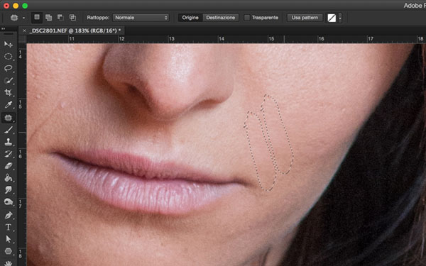 come rimuovere imperfezioni della pelle, tutorial Photoshop, Strumento toppa, strumento pennello correttivo, ritratto, strumento toppa, 2