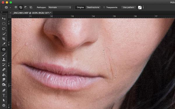 come rimuovere imperfezioni della pelle, tutorial Photoshop, Strumento toppa, strumento pennello correttivo, ritratto, strumneto toppa