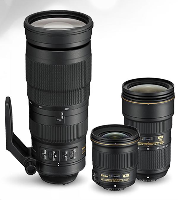 Nikkor 24mm f1.8G ED, Nikkor 24-70mm f2.8 ED VR, AF-S Nikkor 200-500mm f/5.6E ED VR