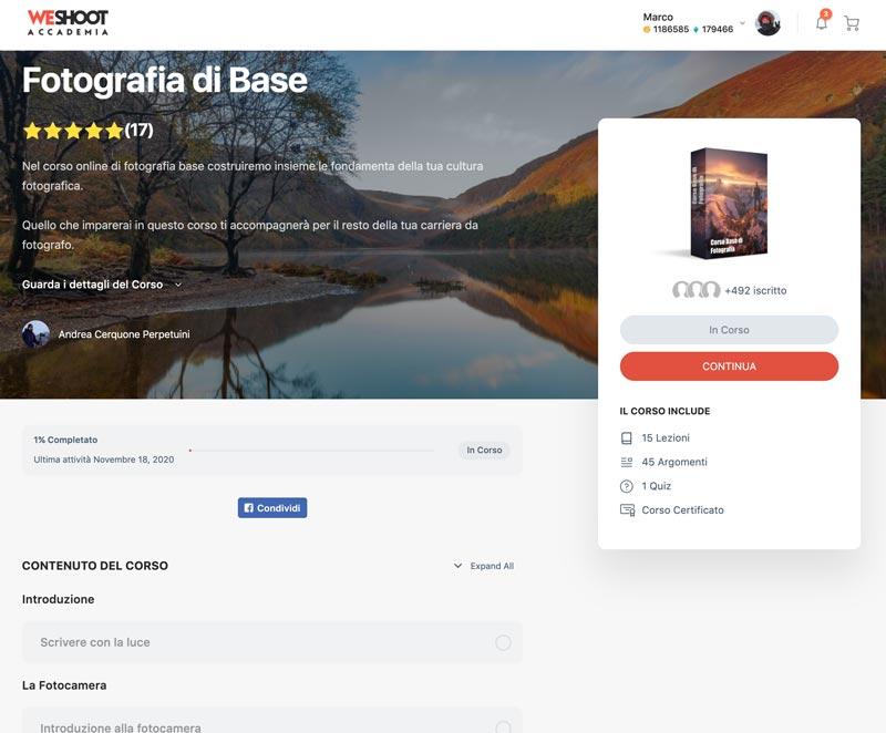 Corso di fotografia online gratuito WeShoot