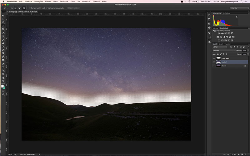 Creative Trail UI, selezione cielo, Script, Tutorial Photoshop