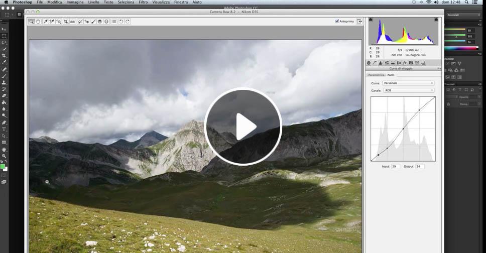 Curve di viraggio, strumento, tutorial Camera Raw, Fotoritocco, video