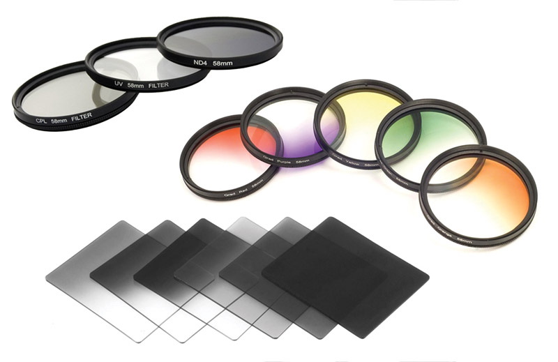 Filtri fotografici, filtro polarizzatore, filtro UV, Filtro digradante neutro