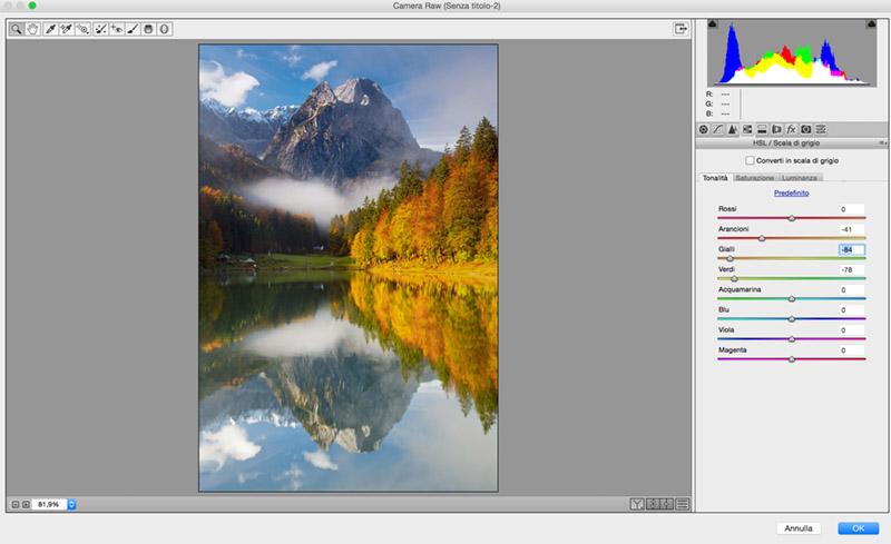 Filtro HSL, tutorial Camera Raw, Photoshop, Fotoritocco, tonalità, 2