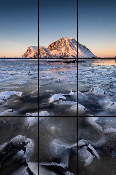 Regola dei terzi, Composizione, verticale, come fotografare un tramonto