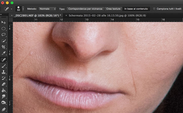 come rimuovere imperfezioni della pelle, tutorial Photoshop, Strumento toppa, strumento pennello correttivo, ritratto, 2