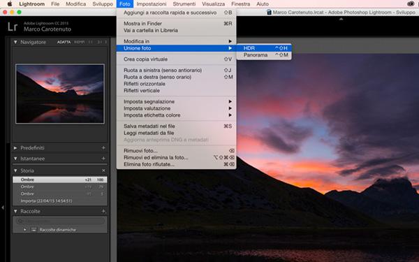 come fare un HDR, tutorial Lightroom 6 CC, novità, Doppia esposizione