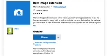 Raw Image, estensione di Microsoft